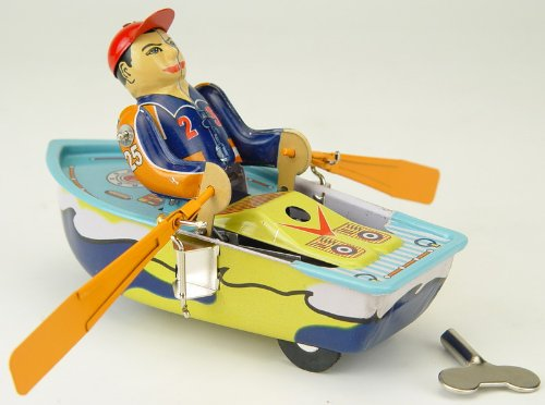 """Vintage Style 4.75"""" Tin Man In Row Boat"""