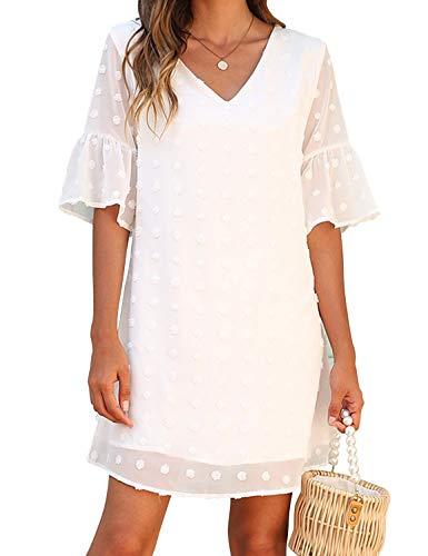 Blooming Jelly Womens White Dresses Short Sleeve V Neck Ruffle Cute Sun Dresses Chiffon Flowy Shift Mini Dress(XL,White)