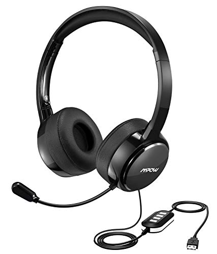 Mpow USB Headset with Noise Cancelling Mic, Lightweight 3.5mm Jack Computer Headsets for Clear Chat, Comfy Earmuffs Wired Headphones for PC, Cell Phone, Skype, E-Learning ()