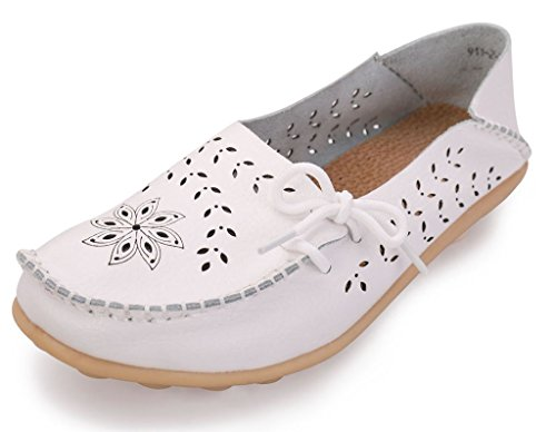 Women's 02 Slip Labato Leather Flats Loafers Moccasin Casual On Driving Shoes White 1dPUdwqx
