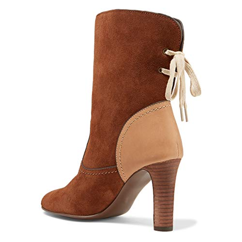 Women Round Heel Calf Dress Mid Suede Shoes YDN High Stacked Brown Booties Boots Toe qd0nCT