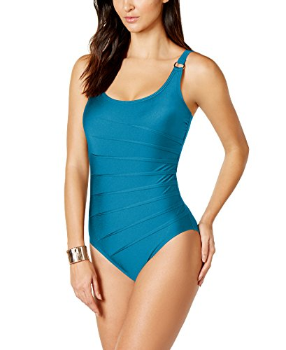 Calvin Klein Starburst One-Piece Swimsuit, Cyan, Size 8 (Adjustable Starburst Ring)