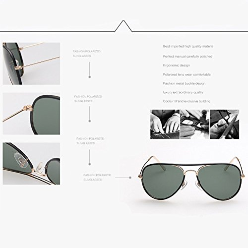 Polarized Para Fashion ZDQ 400 Aviator Travel De Protegido Metal Women Fashion Sunglasses Black Beach White Marco Conducir UV vvr5wx8O