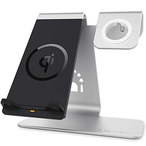 Bestand Qi Wireless Charger, 2 in 1 Cell phone Charging Stand & Watch Station Compatible with iWatch/iPhoneX/XS/XS Max/XR/8/8 plus/Samsung Galaxy S10/S9/S9+, Silver from Bestand
