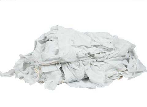 Bulk White Cotton Rags - Recycled - 18'' x 18'' - 40 Pounds in a Box - by RagLady