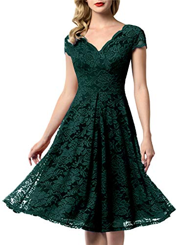 AONOUR 0052 Women's Vintage Floral Lace Bridesmaid Dress Wedding Party Midi Dress Cap Dark Green M