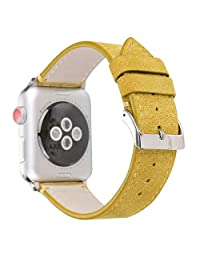 MeShow TCSHOW 40mm/38mm Matte Calf Genuine Leather Strap Wrist Band with Secure Metal Clasp Buckle Compatible for Apple Watch Series 4(40mm)/Series 3/2/1(38mm)