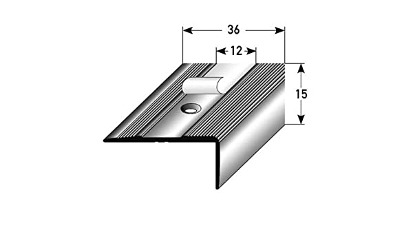 Perfil de escalera / Mamperlán (15 mm x 36 mm) de aluminio anodizado, perforado, bronce oscuro: Amazon.es: Hogar
