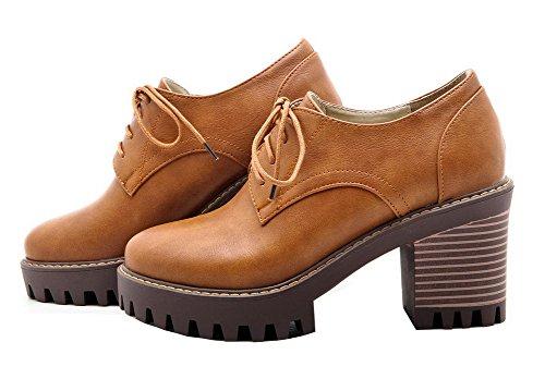 Pu Con Frizione Punta Donne Solida Delle Lacci Gialle Tacchi Rotonda Pompe Alti Chiusa scarpe Allhqfashion qASpHt