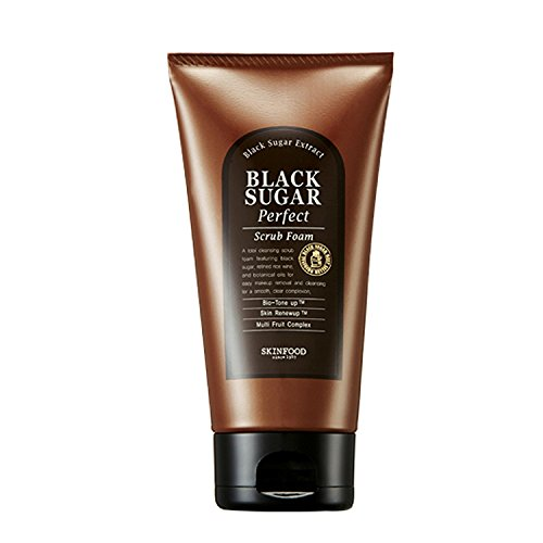 SKIN FOOD Black Sugar Perfect Scrub Foam 6.35 oz 180g – Detoxifying Pore Scrub Exfoliator Soft Rich Bubble Facial Foam Cleanser, Removes Dead Skin Cells, Skin Smooth and Moisturizing