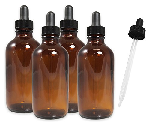 4oz Amber Glass Dropper Bottles, Refillable Glass Bottles for Essential Oils, Cosmetics, Cooking, and More (4 Pack)
