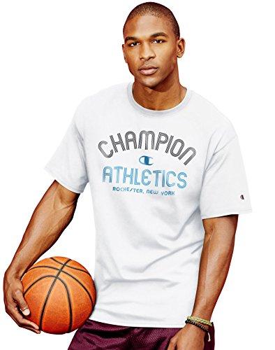 Champion Men`s Cotton-Rich Graphic T Shirt, GT81, S, White/Inline Athletics