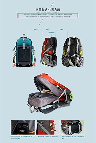 Hanergy Solar Charging Hiking Camping Backpack with Built-in 10.6W Solar Panel,5V Portable Power Bank Backpackings,Outdoors Emergency Sun Powered Charge Back Bag