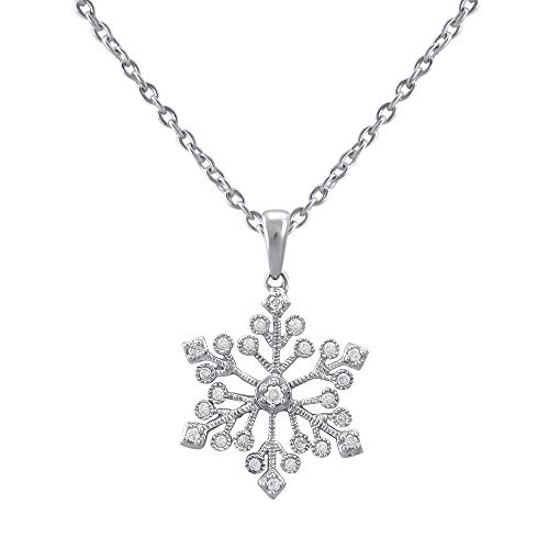 Snowflake Necklace for Girls in 925 Sterling Silver Studded with Real Diamond Pendant for Women with 18