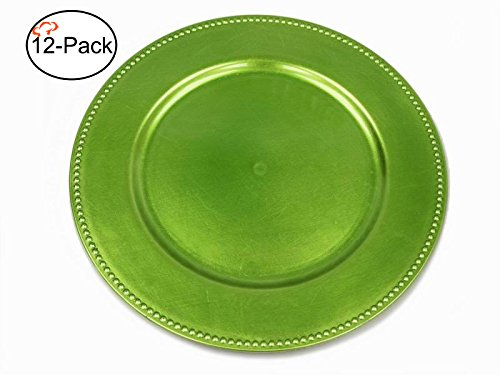 (Tiger Chef 13-inch Lime Round Beaded Charger Plates, Set of 2,4,6, 12 or 24 Dinner Chargers (12-Pack) )