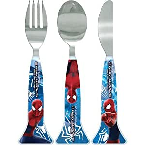 Marvel Comics Spiderman 3 pc Set de Cubiertos cuchillo sirve como cuchara/Spiderman de colores rojo y azul