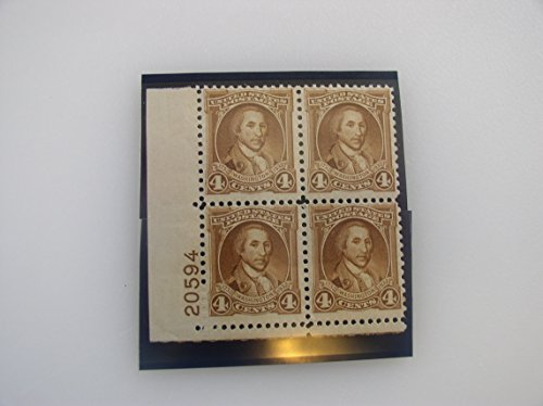 US Postage Stamps, 1932, Washington Bicentennial, Plate Block of 4, S#712, $0.07