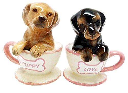 Chocolate Dachshund Puppies Ceramic Shakers