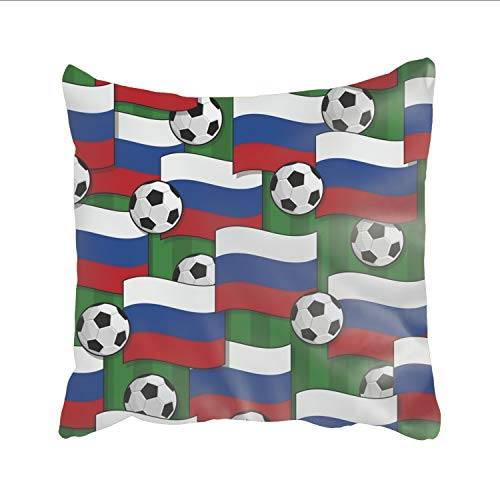 Russia Football Square Pillowcase Thick with Invisible Zipper for Sofa Couch Bed