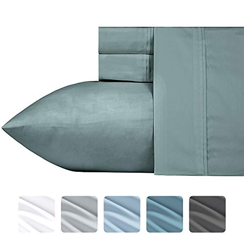 California Design Den 700 Thread Count Cotton Blend Queen Sheet Sets (4 pc, Modern Sage) - Fits Upto 18