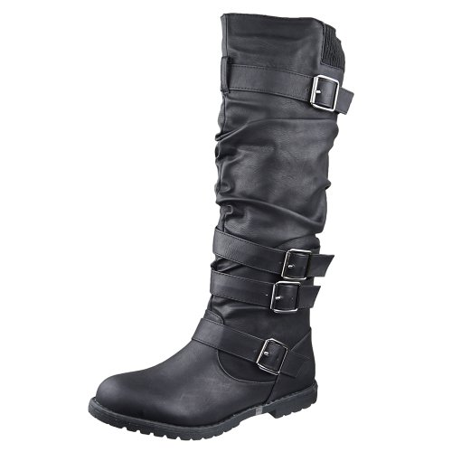 Womens Knee High Boots Strappy Buckles Faux Leather Casual Comfort Shoes Black SZ 6