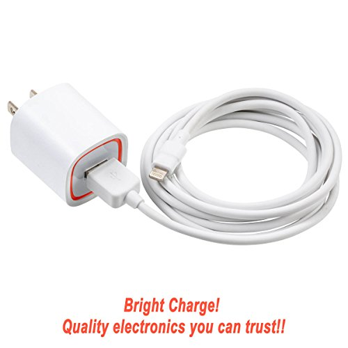Bright Charge    Mfi Apple Certified Rapid 2 4 Amp Lightning Wall Travel Charger With 6 Foot Durable Cable For Iphone 7  7 Plus  6  6 Plus  Ipad Air 2  Ipad Air   White