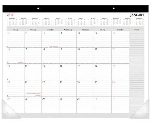 Office Depot Brand Monthly Desk Pad Calendar, 22' x 17', White, January to December 2019 22 x 17