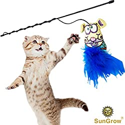 SunGrow Wand Toy for Cats (1 pc) - Blue Fabric Mouse Toy with Soft Rabbit Fur - Interactive Pet Toy with Long, Flexible Handle - Filled with Catnip to Satisfy Calico, Maine Coon and Tabby Cats