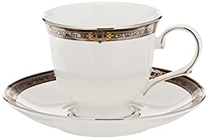 Lenox Vintage Jewel Platinum-Banded Bone China 5-Piece Place Setting Lenox Vintage Jewel Fine Dinnerware Tea Cup & Saucer White