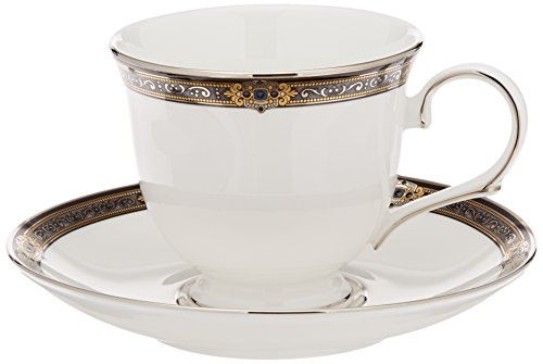 Lenox Vintage Jewel Tea Cup and Saucer, White (Platinum Teacup China)