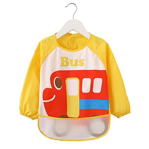 Price comparison product image Baby Bibs Waterproof and Wipeable-Eat and Play Smock Apron(6-36 Months) (Yellow Car)