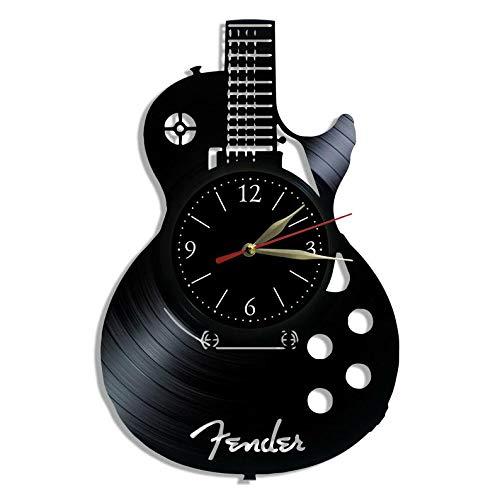 - Guitar Vinyl Record Clock - Vinyl Clock - Wall Clock - Present Music Fans - Guitar Design - Custom Art Clock - Unique Gift - Music Art Decor - Guitar Vintage Art Clock - Gift for Guitarist
