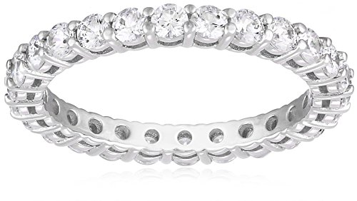 Platinum-Plated Sterling Silver All-Around Band Ring set with Round Swarovski Zirconia (1 cttw), Size 7