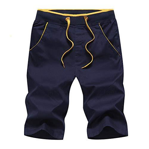Men's Summer Shorts Leisure Sports Five-Cent Trousers Cotton Belted Beach Pants Dark Blue