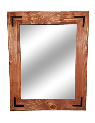 Shiplap Large Framed Mirror with Decorative Corner Brackets Available in 4 Sizes -
