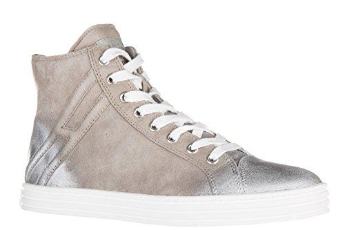 Hogan Rebel chaussures baskets sneakers hautes femme en daim r141 polacco gris