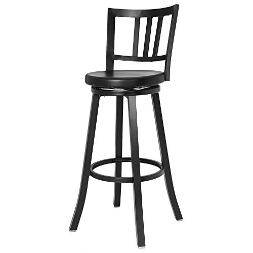 Renovoo Aluminum Swivel Bar Stool, Commercial Quality, Fully Assembled, Matte Black Powder Coated Finish, 30 Inch Seat Height, Indoor and Outdoor Use, 1 Pack (Contract Furniture Outdoor Source)