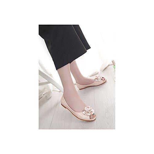 Ballet plano de zapatos de cabeza de pescado de la PU Charol Moda para mujer Albaricoque A-1