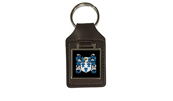 Aiken Family Crest Surname Coat Of Arms Brown Leather Keyring Engraved