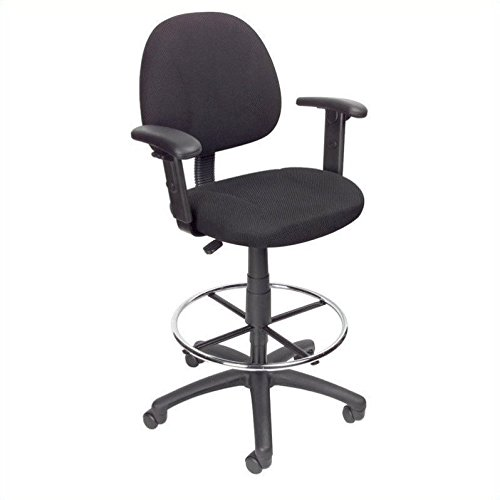 Height Adjustable Arms - Boss Office Products B1616-BK Ergonomic Works Drafting Chair with Adjustable Arms in Black