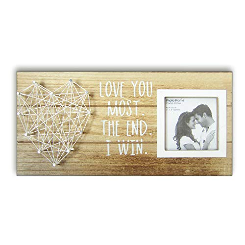 Rustic Wood Plaque (Love You Most the End I Win Rustic Wood Plaque Sign for 3 Inches Photo - Wooden Picture Frame with string art heart Couples Anniversary Gifts for Boyfriend and)