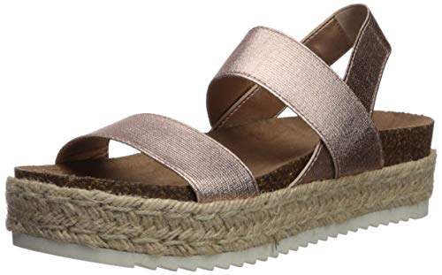 (Madden Girl Women's CYBELL Espadrille Wedge Sandal Rose Gold Fabric 10 M US)