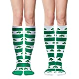 Elcoho St Patrick's Day Shamrocks Knee Socks Lucky Shamrock Knee Thigh Stockings Striped for Saint Patrick Party Costume Decoration Supplies