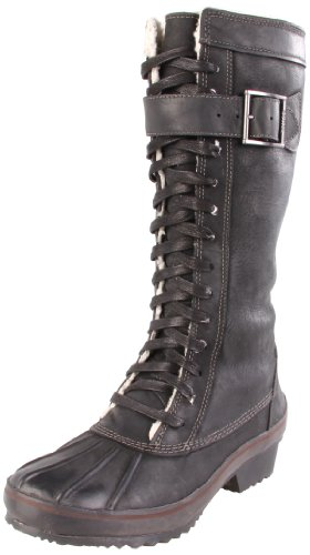 Sorel Women's Sorelia Earhart Leather NL1767 Boot,Black/Pewter,12 M US