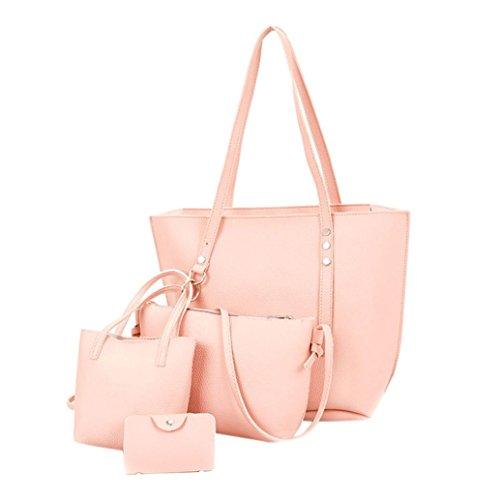 4Pcs Women Pattern Leather Shoulder Bag+Crossbody Bag+Handbag+Wallet (Pink) by Napoo-Bag