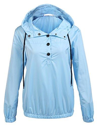 Lined Petite Coat - unibelle Rain Jackets Petite Lined Lightweight Rainwear(Blue,Medium)