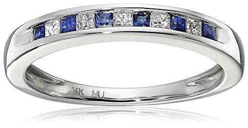 White Princess cut Diamond Sapphire Wedding product image