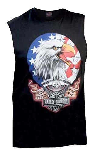 Harley-Davidson Men's Sleeveless Muscle Tee, True Patriot Graphic, Black
