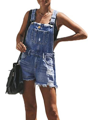 Aleumdr Elastic Waist Jeans Rompers Jumpsuit Raw Hem Ribbed Loose Fit Denim Overall Shorts Size 2XL Light Blue