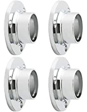 Mooche 4Pcs Closet Rod Socket Flange Rod Holder Curtain Rod Bracket Holders Closet Pole Rod End Supports, Stainless Steel Polished Finished, Dia 25mm, MFL300C-4P-1